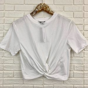 Topshop twist knot front white t-shirt top tee